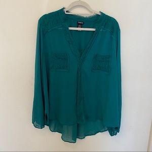 Torrid Jade Green Sheer Lace Pocket Blouse 2X